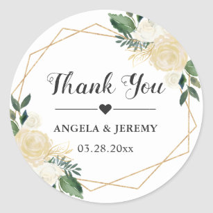 Modern Gold Green Floral Wedding Favour Thank You Classic Round Sticker