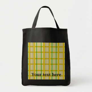 Modern gold grid pattern with silver green stripes grocery tote bag