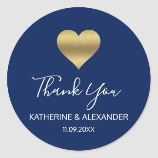 Modern Gold Heart Navy Blue Wedding Seals