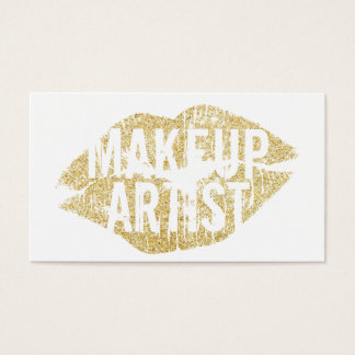 Modern Gold Kiss Bold Text Makeup Artist Business Card