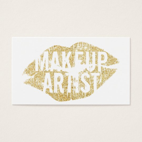 Modern Gold Kiss Bold Text Makeup Artist Business