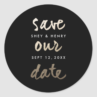 Modern Gold Leaf Faux Foil Save the date sticker