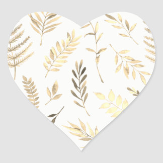 Modern Gold Leaf Wedding Heart Seal