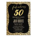 Modern Gold Leopard Print Fabulous 50 Birthday 13 Cm X 18 Cm Invitation Card