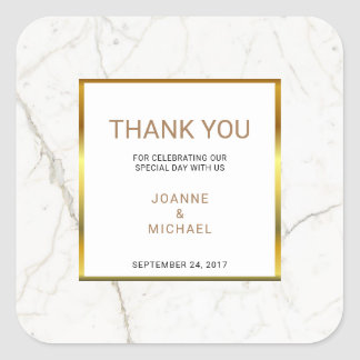 Modern Gold Marble Wedding Thank You Favor Square Sticker