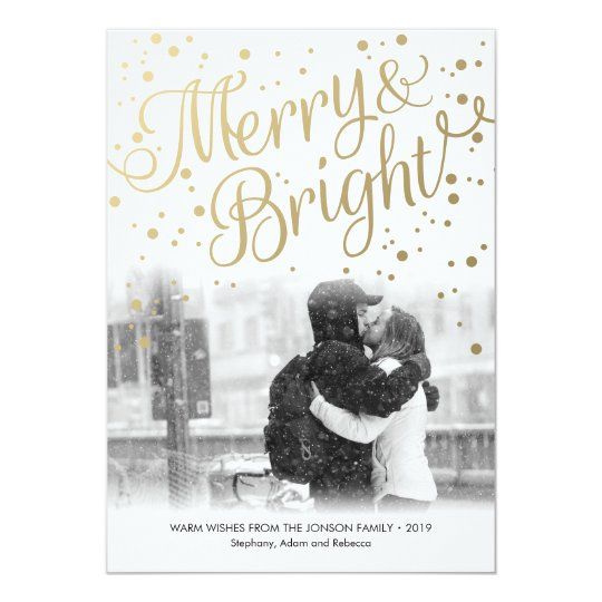 Modern Gold Merry Bright Custom Photo Card