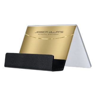 Modern Gold Metallic Looking Background Desk Business Card Holder
