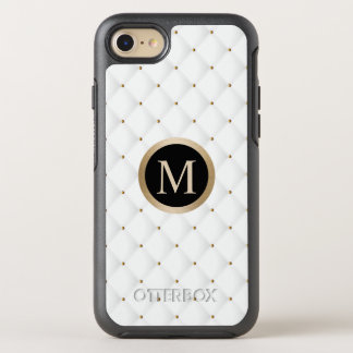 Modern Gold Monogram Initial Luxury White Quilts OtterBox Symmetry iPhone 8/7 Case