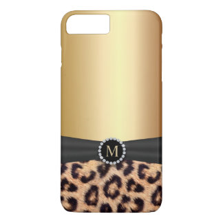 Modern Gold Monogram Leopard iPhone 7 Plus iPhone 8 Plus/7 Plus Case