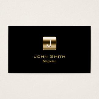 Modern Gold Monogram Magician Business Card