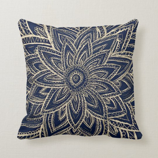 Modern gold navy blue abstract floral illustration cushion