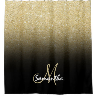 Modern gold ombre black color block personalized shower curtain