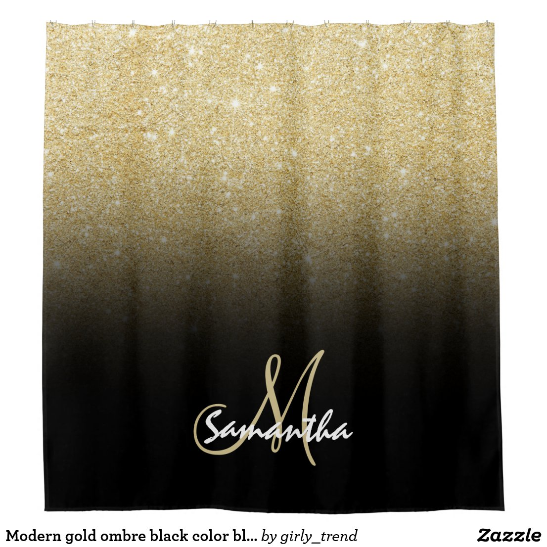 Modern gold ombre black colour block personalised shower curtain