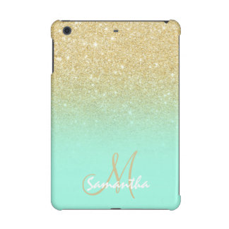 Modern gold ombre mint green block personalized iPad mini retina cover