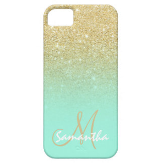 Modern gold ombre mint green block personalized iPhone 5 cases