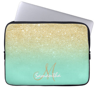 Modern gold ombre mint green block personalized laptop sleeve