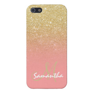 Modern gold ombre pink block monogram iPhone 5 case