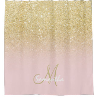 gold and pink shower curtain. Modern gold ombre soft pink block personalized shower curtain Faux Gold Glitter Shower Curtains  Zazzle co uk