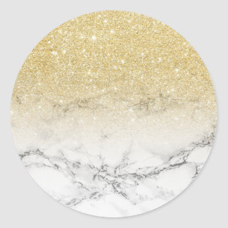 Modern  gold ombre white marble color block classic round sticker