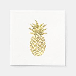 Modern Gold Pineapple Disposable Napkins