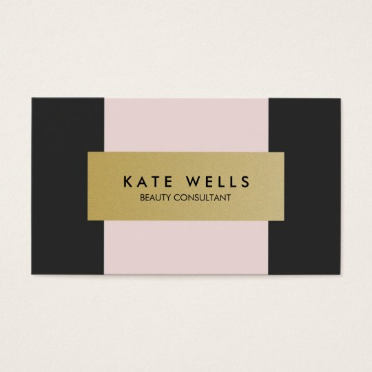 Modern Gold, Pink and Black Beauty Salon Business Card
