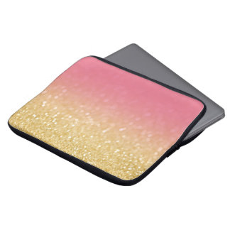 Modern Gold Pink Ombre Glitter Laptop Sleeve Case