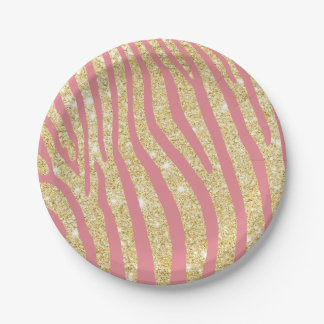 Modern Gold & Pink Zebra Stripes Girly Paper Plate