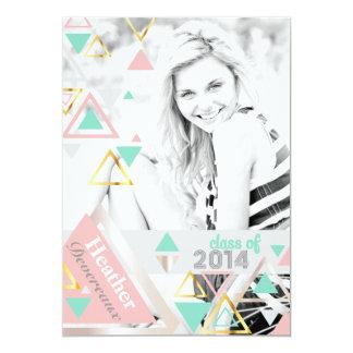 Modern Gold Pyramids Senior Photo Graduation 5x7 Paper Invitation Card