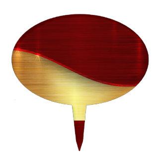 Modern,gold,red,metallic,trendy,abstract,pattern, Cake Picks