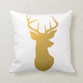 Modern Gold Reindeer Holiday Cushion