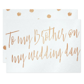 "Modern Gold Rose ""To my brother on my wedding day"" 13 Cm X 18 Cm Invitation Card"