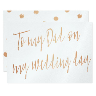 "Modern Gold Rose ""To my Dad on my wedding day"" Card"