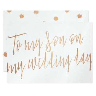 """Modern Gold Rose """"To my son on my wedding day"""" Card"""