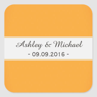 Modern Gold Save the Date Square Sticker