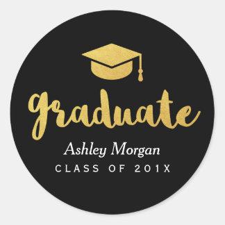 Modern Gold Script 2018 Grad Graduation Favor Classic Round Sticker