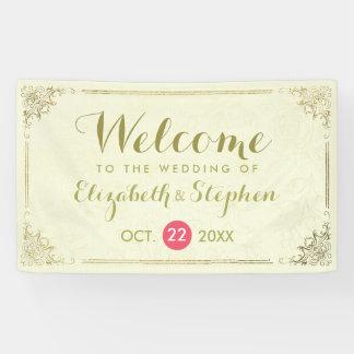 Modern Gold Script Floral Frame Wedding Banner