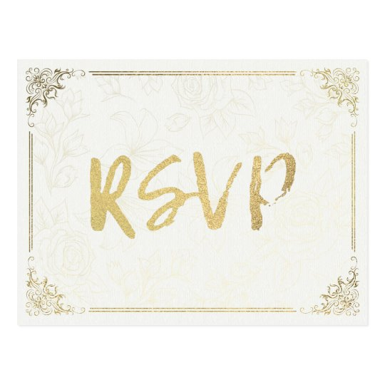 Modern Gold Script Floral Frame Wedding RSVP Reply