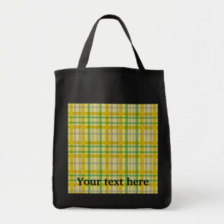 Modern gold  silver and green plaid pattern grocery tote bag