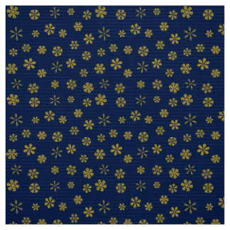 Modern Gold Snowflakes Pattern on Navy Blue Fabric