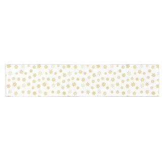 Modern Gold Snowflakes Pattern Short Table Runner