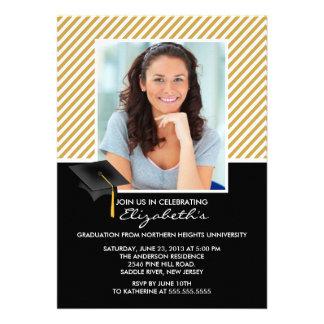 Modern Gold Stripe Graduation Party Announcement