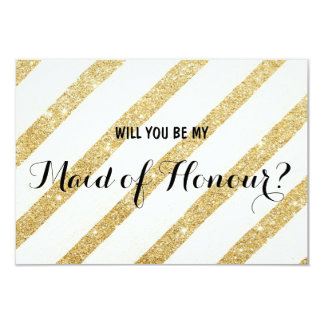 Modern gold stripe Will you be my Maid of Honour 9 Cm X 13 Cm Invitation Card