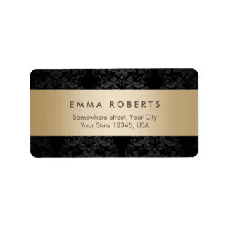 Modern Gold Striped Elegant Black Damask Address Label