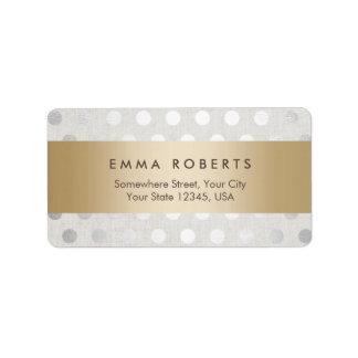Modern Gold Striped Silver Polka Dots Classy Linen Address Label