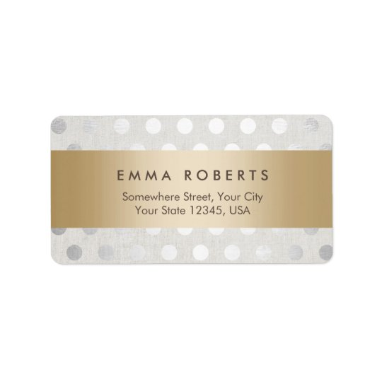 Modern Gold Striped Silver Polka Dots Classy Linen Address Label