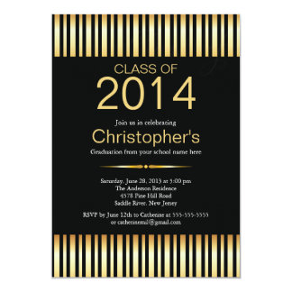 Modern Gold Stripes Graduation Party Invitation
