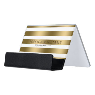 Modern Gold Stripes Over White Desk Business Card Holder
