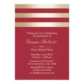 Modern Gold Stripes Red Graduation 13 Cm X 18 Cm Invitation Card