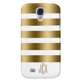 Modern Gold Stripes With White Background Galaxy S4 Case