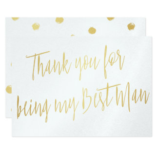 "Modern Gold ""Thank you for being my best man"" 13 Cm X 18 Cm Invitation Card"